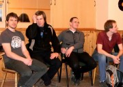 Ostravské Buchary 2012 - rozprava s porotou /na snímku vedle Lukáše rovněž náš 200. fanoušek z facebooku, který získal jako odměnu účast v zákulisí a mohl pomáhat při stěhování kulis :)